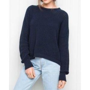 BRANDY MELVILLE Navy Blue Drop Shoulder Sweater